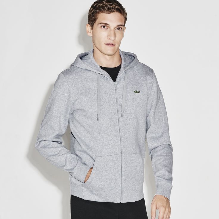 LACOSTE Men's SPORT Hooded Zippered Back Print Tennis Sweatshirt - HEATHER SILVER GREY/BLACK. #lacoste #cloth #