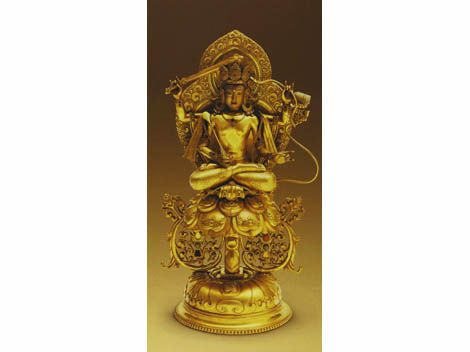 Gold statue of Manjusri inlaid with pearls and gems