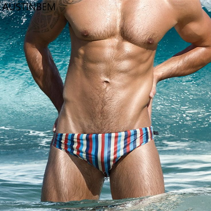 ==> [Free Shipping] Buy Best AUSTINBEM Brand Gay Mens Swimwear Swimming Shorts Bikinis Swim Briefs Swimsuit Sunga Bathing Suit Pouch Waterproof Sexy Stripes Online with LOWEST Price | 32810555850