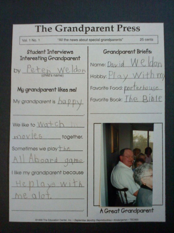 Writing activity for Grandparents Day...easy to adapt for different people or topics.