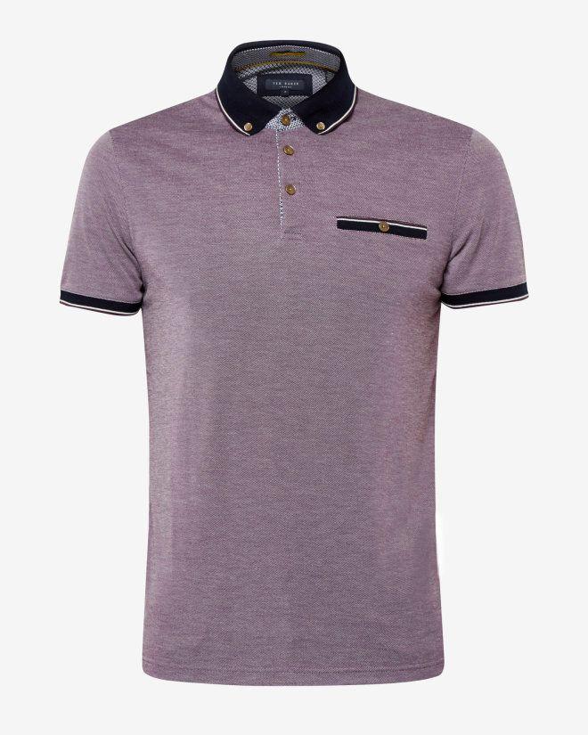 Oxford collar polo shirt - Deep Purple | Tops & T-shirts | Ted Baker