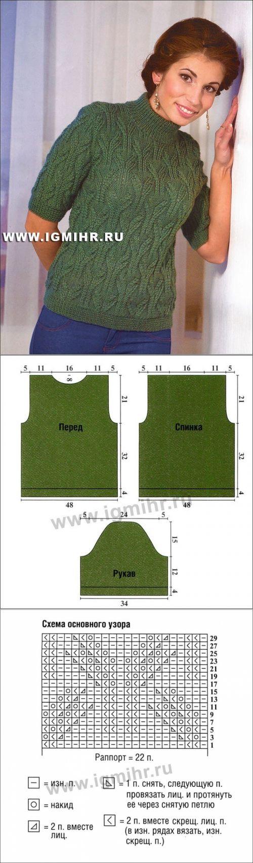 Зеленая кофточка с ажурным узором.