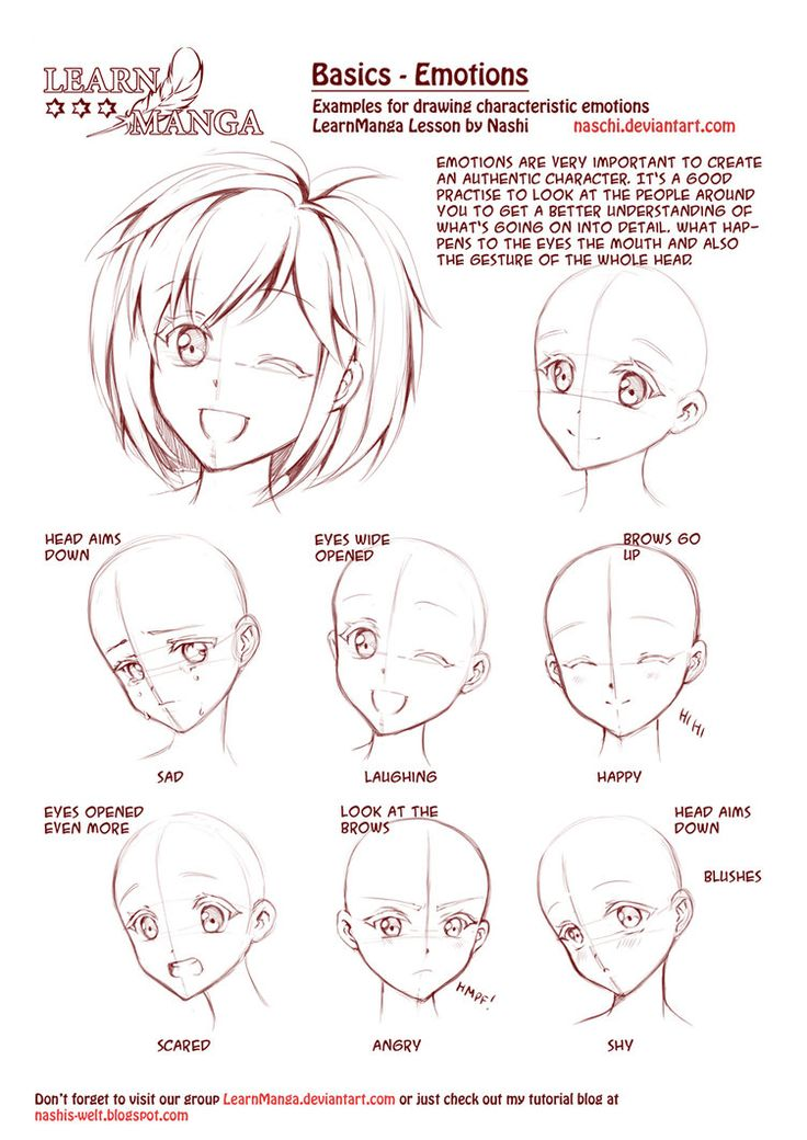 Learn Manga: Emotions by *Naschi on deviantART, how to draw manga face, girl face, cute kawaii drawing tutorial , how to manga draw eyes , expressions, manga, anime, tutorial
