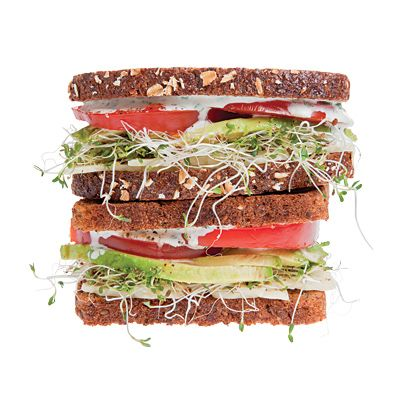 I'd like to try this later: whole-grain bread, avocado, tomato, cheese, veggies, and ranch dressing.