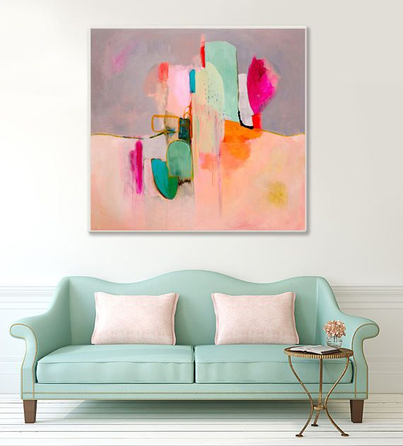 """Large Abstract painting print in coral pink grey green and white, abstract canvas art giclee print titled """"Awakenings #4"""" by Sarina Diakos"""