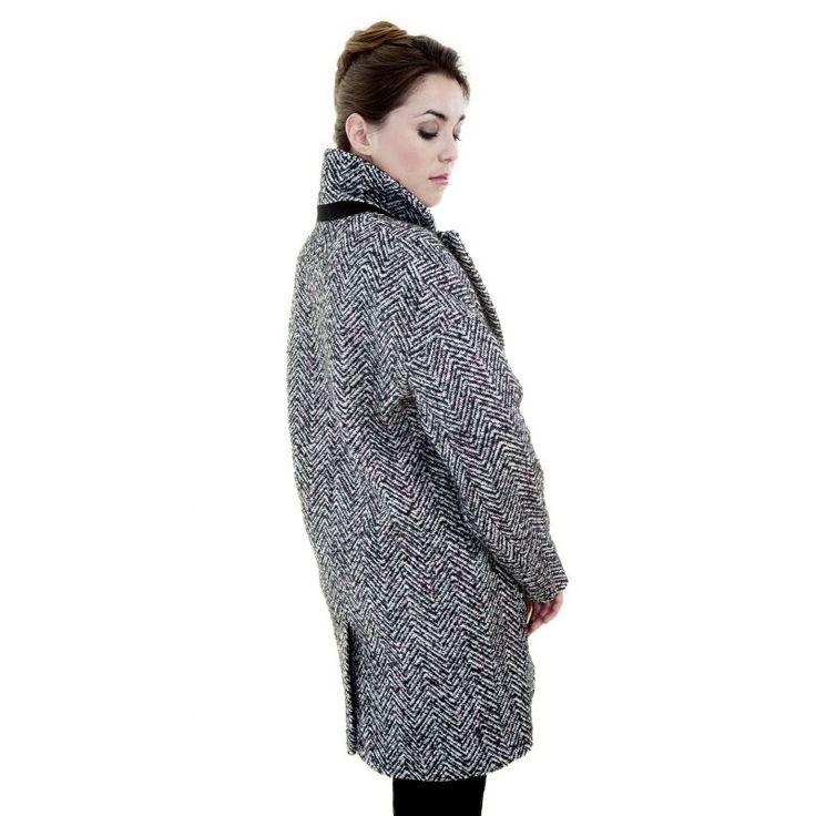 manteau boyfriend en chevrons cru noir r hauss de. Black Bedroom Furniture Sets. Home Design Ideas