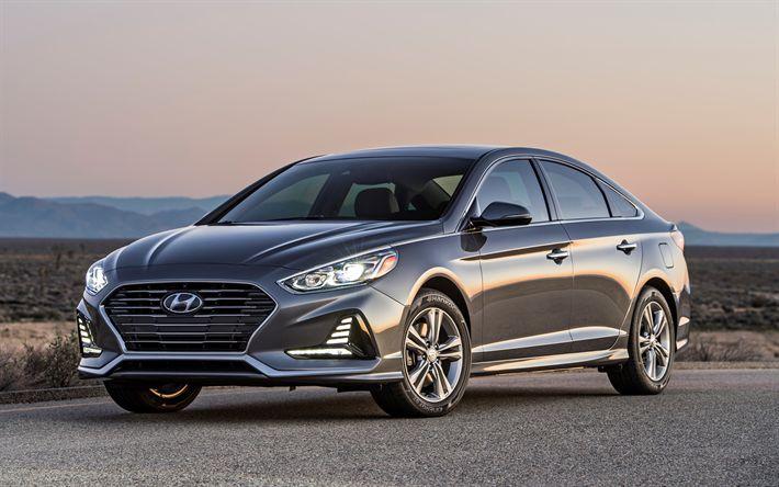 Download wallpapers Hyundai Sonata, 2018, gray sedan, new gray sonata, exterior, front view, Hyundai, 4k