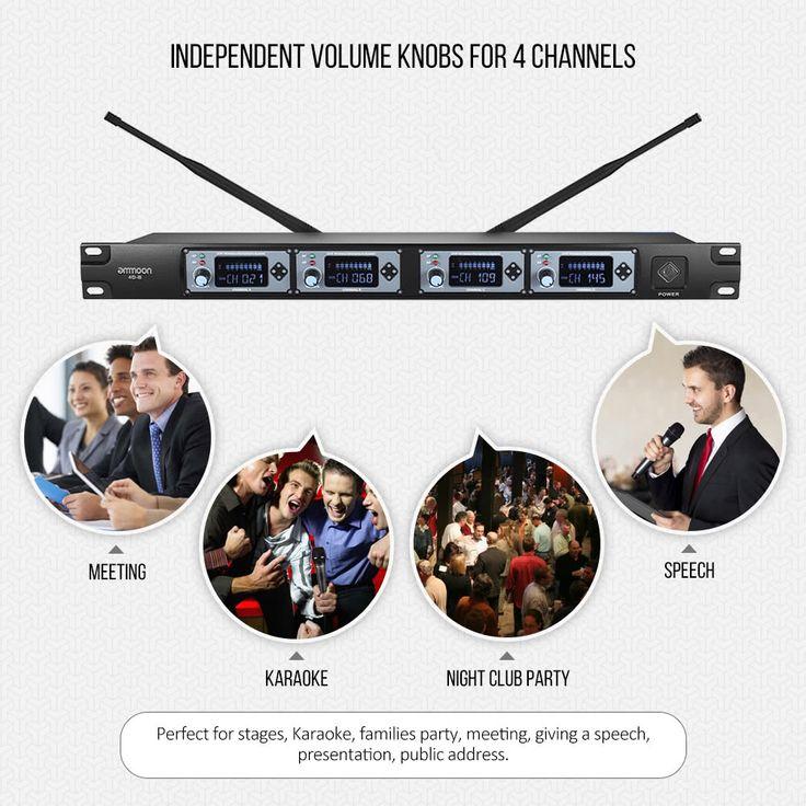 ammoon 4D-B Professional 4 Channel UHF Wireless Handheld Sales Online eu - Tomtop.com