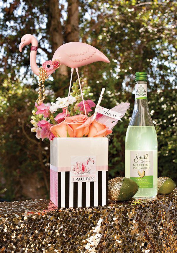 Flamingo Fiesta Girls Night In {Part 1: Dinner & Drinks} + Free Printables