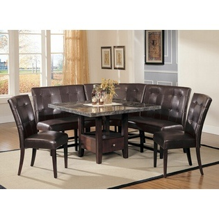 Acme  6 Pc Bologna Square Black Marble Dining Table Set With Storage  Pedestal Base And