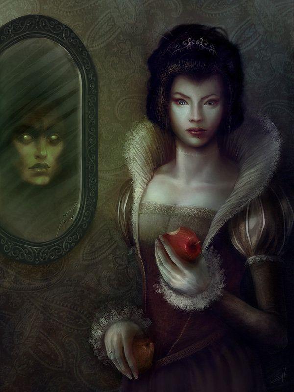 Snow White Witch Eyes Glowing In Mirror Art Snow