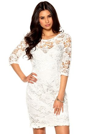 Lipsy Lace Dress Cream