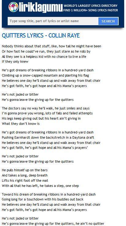 QUITTERS Lyrics - COLLIN RAYE http://www.liriklagumu.com/4591313/quitters-lyrics-collin-raye/