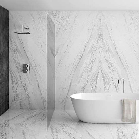 Amazing New Slabs From Spain These Apavisa Porcelain Slabs From Bv Tile Stone Look Just Like Real Marble Shower Walls Porcelain Tile Bathroom Tile Bathroom