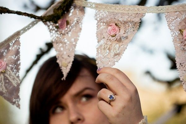 vintage style tea stained lace bunting