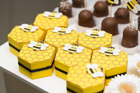 These favor boxes are perfect for a Mom to bee baby shower theme or a Cute as can bee birthday party! Just add candy or truffles inside and