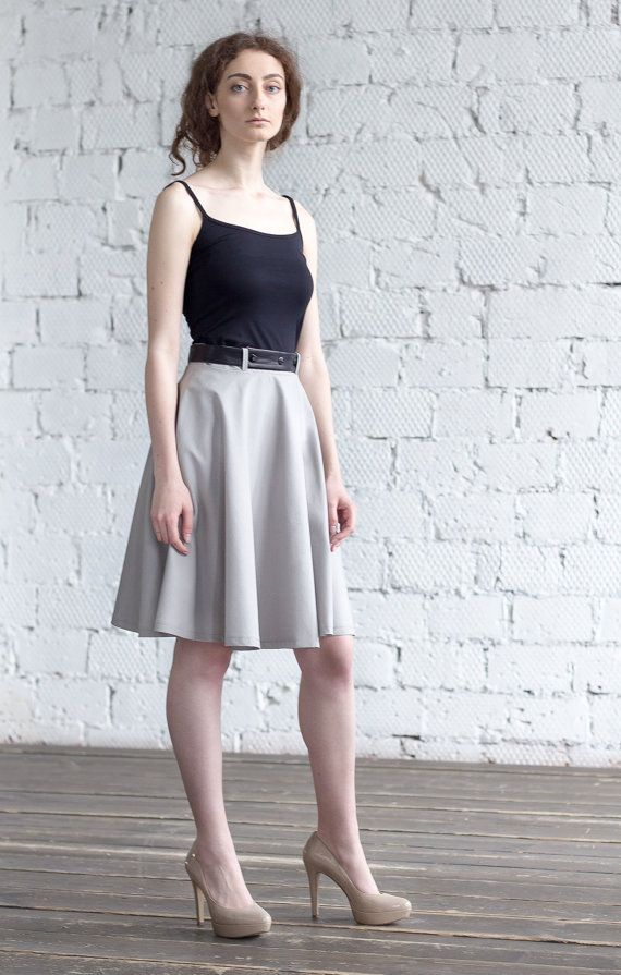 Elegant in Grey Skirt / Summer High Waist  by ExlibrisClothing