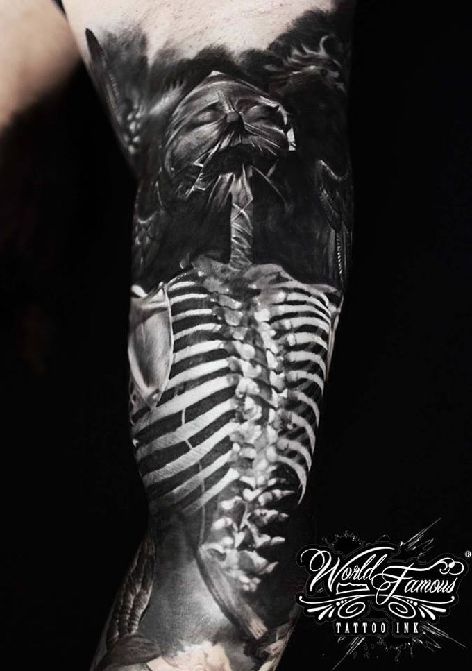 Skeleton, part of a stunning sleeve by Andrey Kolbasin.  http://tattooideas247.com/skeleton-sleeve/