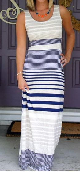 Black and white striped maxi dress h&m