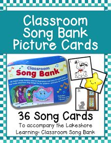 I made a collection of song bank picture cards to go with the Lakeshore Learning Classroom Song Bank cd collection. I plan to laminate and c...