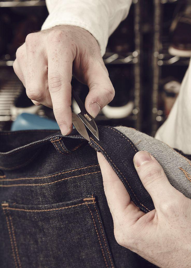 Using Shozaburo scissors to cut away picks   Oliver Sweeney x Billiam Jeans