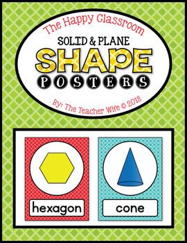 These Shape Posters will look darling (& happy) in your classroom! These posters can be used as on a math wall, calendar wall, or flash cards. They come in color and B&W. They also come in two sizes (both available in this packet) which are 8.5x11in and 5x6.5in.