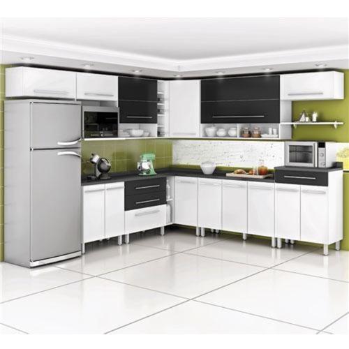 Cozinha Bartira Glamour 14 peças Branco com preto