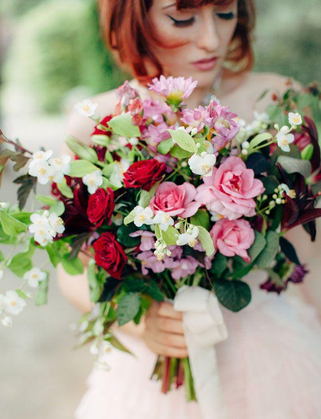 Romantic pink + berry bouquet
