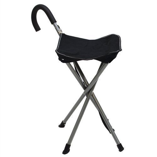 Folding Cane Chair  Walking Stick with Stool  In Black * You can get more details by clicking on the image.