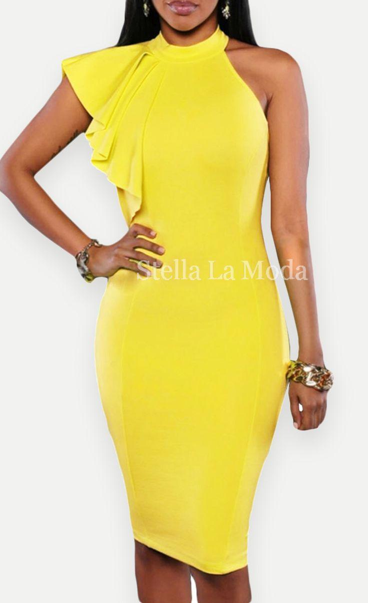 $34.99 One Shoulder Ruffle Sleeve Midi Dress