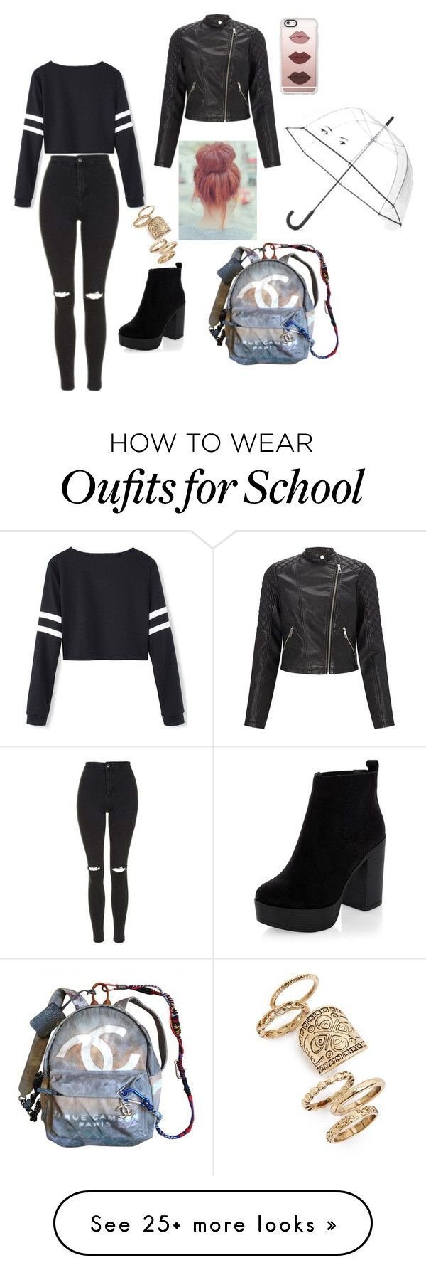 """School day"" by ana-zelic on Polyvore featuring Topshop, Lipsy, Chanel, Kate Spade, New Look and Casetify"