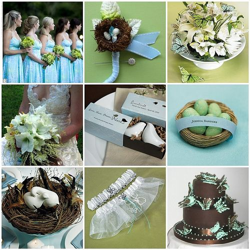 Garden Wedding Ideas - Bird & Butterfly Theme in Blue, Green & Brown. Not sure about that birds nest boquet but the rest is really cute and of course it would be purple :)