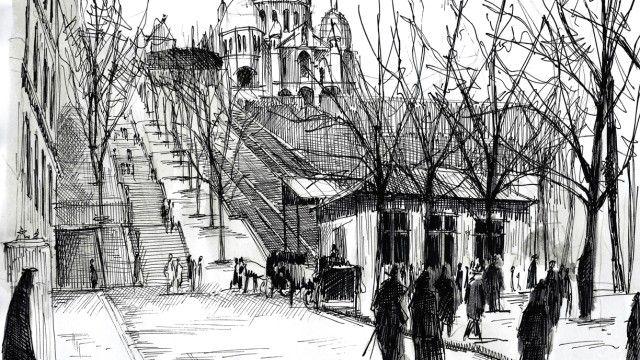 Watercolor and black ink/ Le funiculaire de Montmartre. Nicolas Jolly