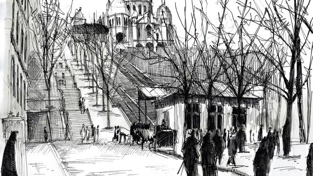 Watercolor and black ink/ Le funiculaire de Montmartre. Nicolas Jolly