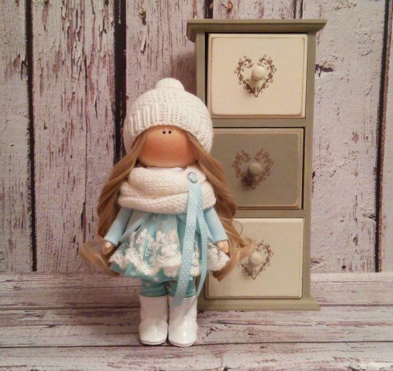 Winter doll doll Tilda doll Art doll handmade brown turquise colors Rag doll Soft doll Fabric doll Home doll by Master Irina Bukina