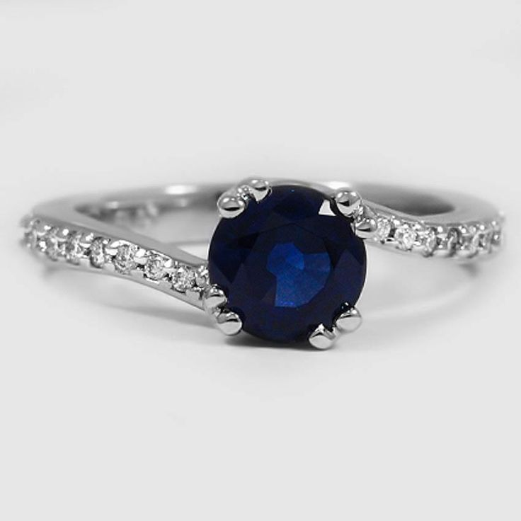 Platinum Sapphire Seacrest Ring with Diamond Accents // Set with a 6.5mm Round Blue Sapphire #BrilliantEarth