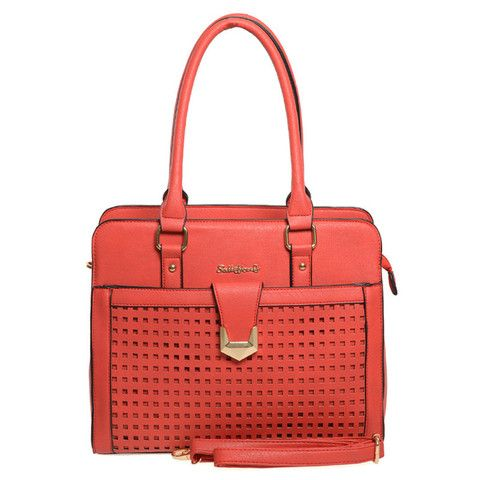 Red  -  Hollow Out Plaid Handbag Women Shoulder Bag £21.99