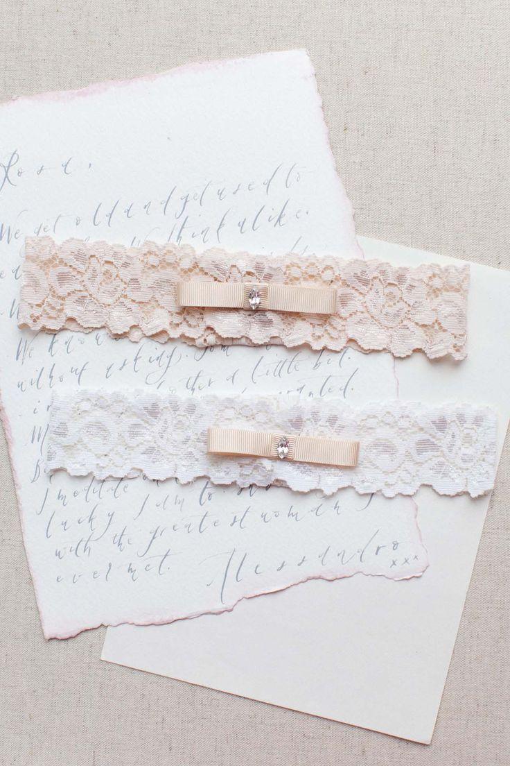 5th Avenue Wedding Garter in Blush Pink, Nude or Ivory   Bridal Garter