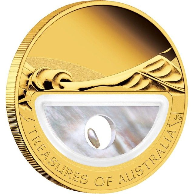 Gold Treasures of Australia - Pearls 1oz Proof Locket Coin  pearl and  gold coin  , Perth mint gold coin, gold coin ,gold,  ounce gold coin