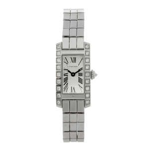 LOT:62 | CARTIER - an 18ct white gold Tank Americaine bracelet watch.
