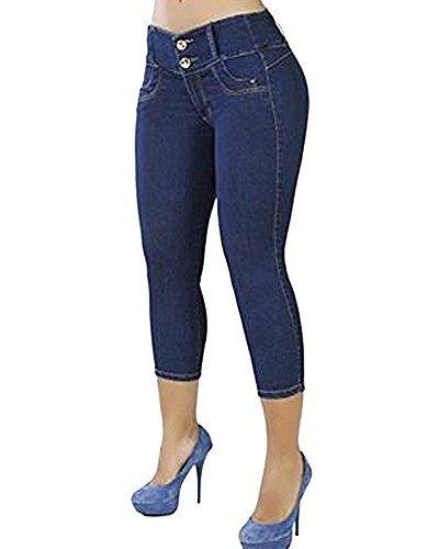 5c2a9c6b313b Femme Casual Couleur Unie Jeans Taille Basse Skinny Slim Fit Pantalon Été  Bleu foncé M