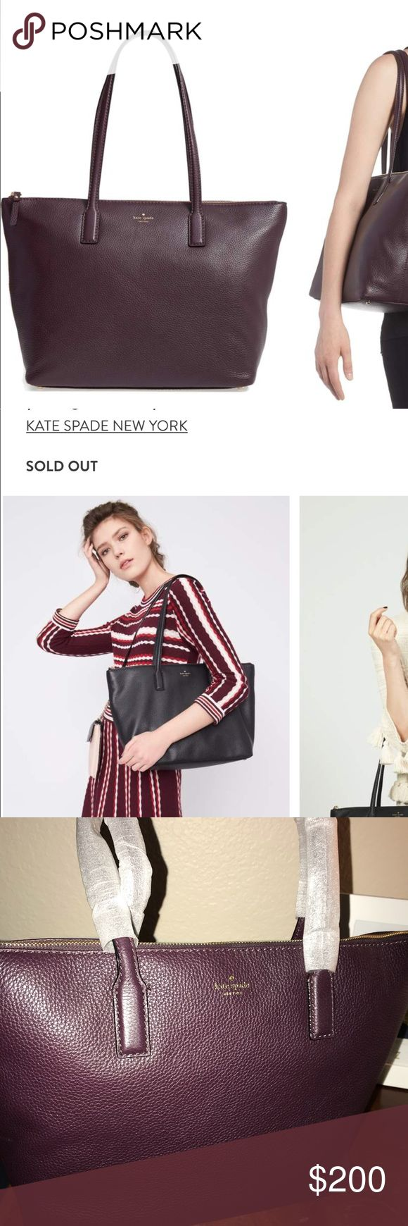 NEW Kate Spade Young Lane-Nyssa Tote New, with tags large Dark Mahogany Kate Spade tote. Retails $298. Crossroads are Cactus and the 101. Willing to meet in the middle. kate spade Bags Totes