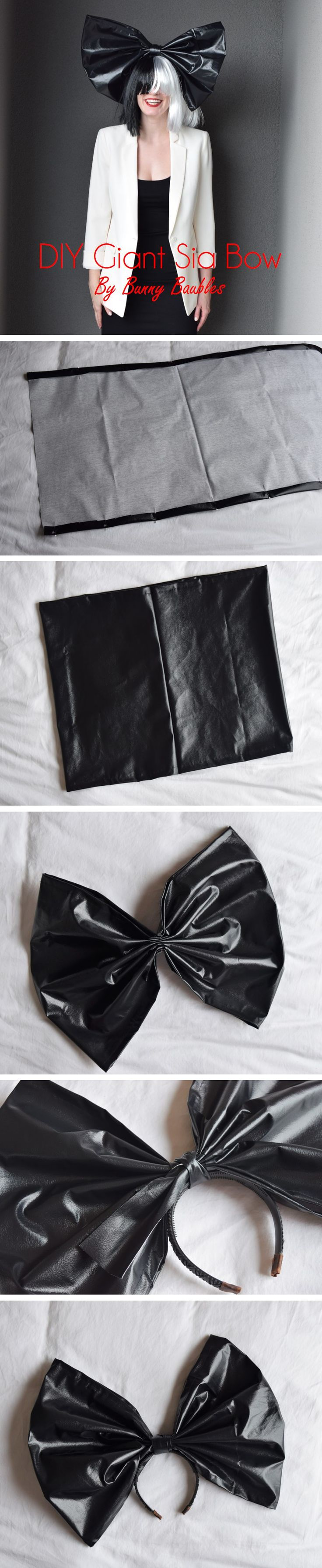 DIY Giant Sia Bow headband - full tutorial and where to get the rest of the costume items