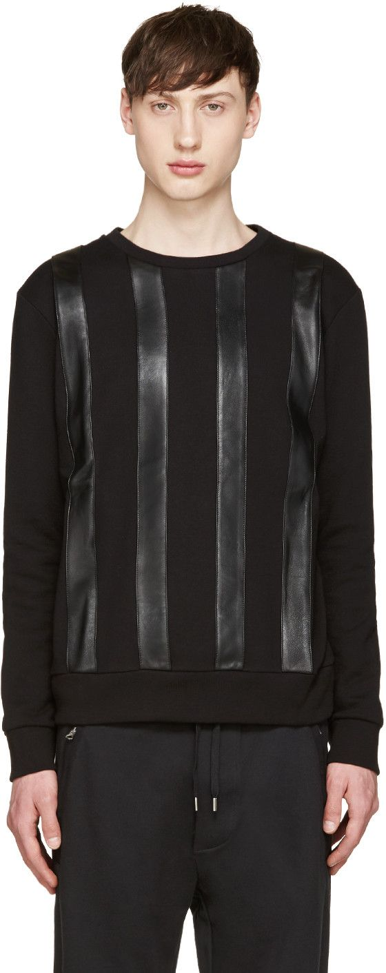 GIULIANO FUJIWARA BLACK LEATHER STRIPED PULLOVER. #giulianofujiwara #cloth #pullover