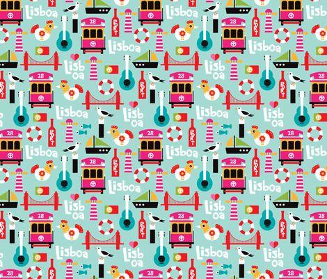Colorful Retro Style Lisbon Lisboa Travel Icons Ilration Pattern The World Fabric Design