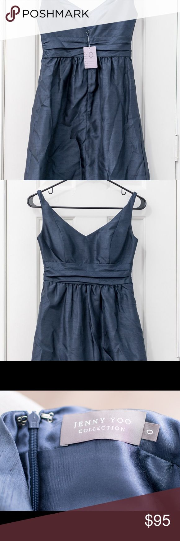 [Jenny Yoo] Navy Bridesmaid Dress Size 0 This is from a sample sale, so the only tags are from the sale, not from the manufacturer. This dress hits right above the knee. Zips and clips in back. Dark navy color. Jenny Yoo Dresses Wedding