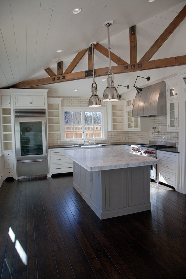 Sonoma Farm House Kitchen (white/marble/glass fridge)  Fridge and lights