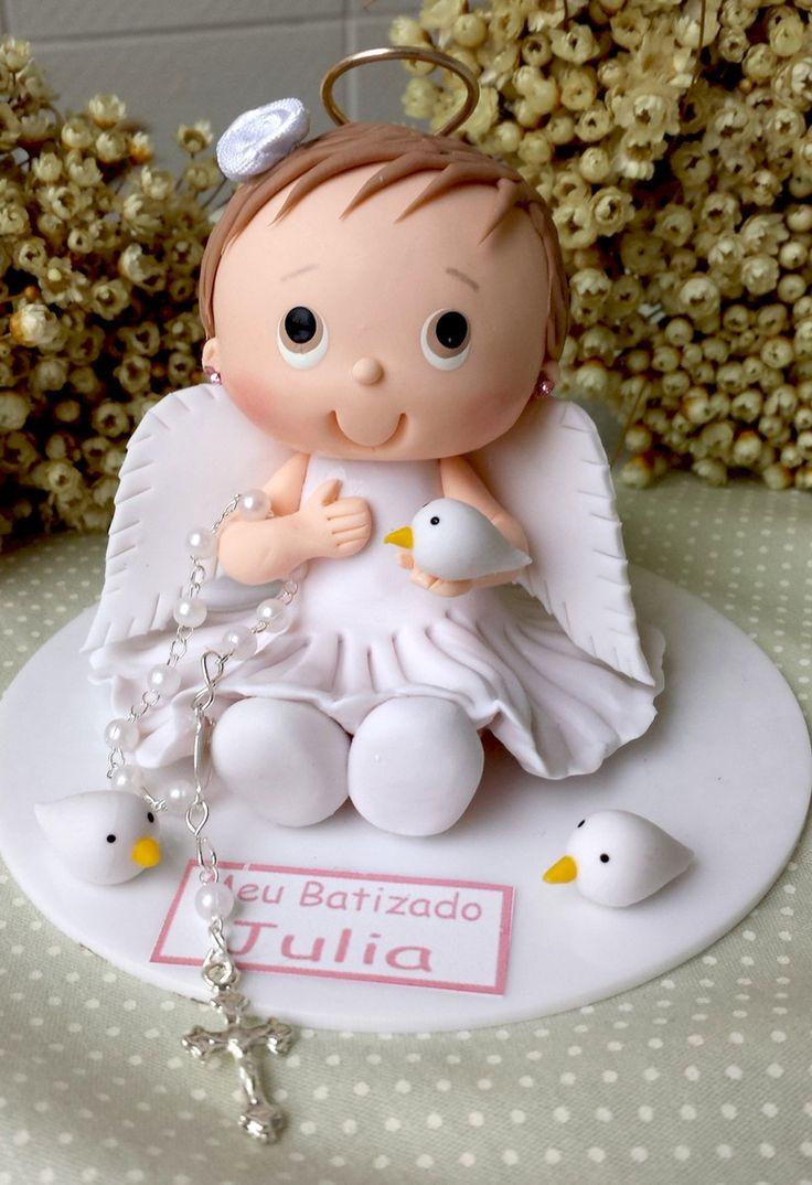 Enfeite de bolo batismo menina anjo