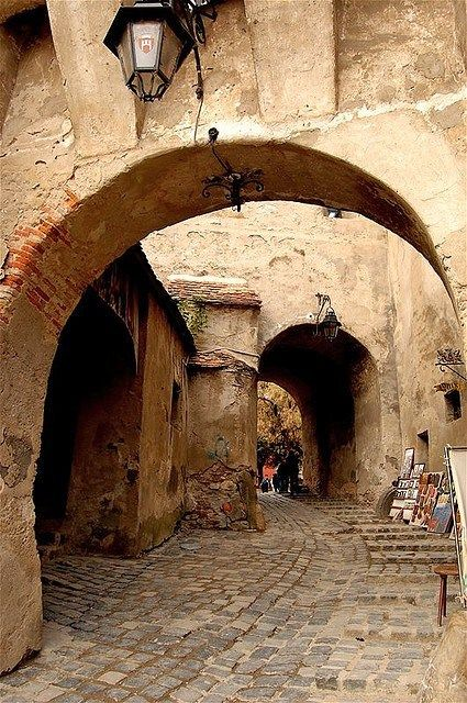 Back alley in Sibiu Old-Town, Romania