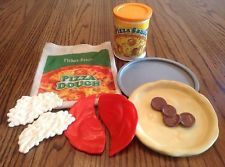 "Vintage Fisher Price ""Fun With Food"" Pizza Dough & Sauce Set (Play Plastic Food)"